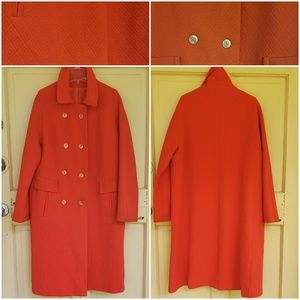Vintage Double Breasted Red Polyester Coat